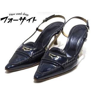 トッズ(TOD'S)のトッズ ☆ エナメル サンダル ネイビー系 シューズ 靴 レディース (サンダル)