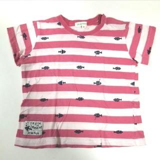サンカンシオン(3can4on)の3カン4オン Tシャツ 半袖 ストライプ ピンク 魚 マリン 95cm(Tシャツ/カットソー)