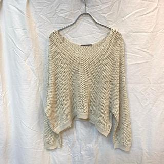 アウラアイラ(AULA AILA)のAULA AILA アウラアイラ かぎ針編みメッシュニット アイボリー 美品(ニット/セーター)