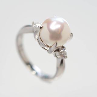 質屋出品vv 天然アコヤ本真珠ダイヤモンドリング Pt900 11号(リング(指輪))