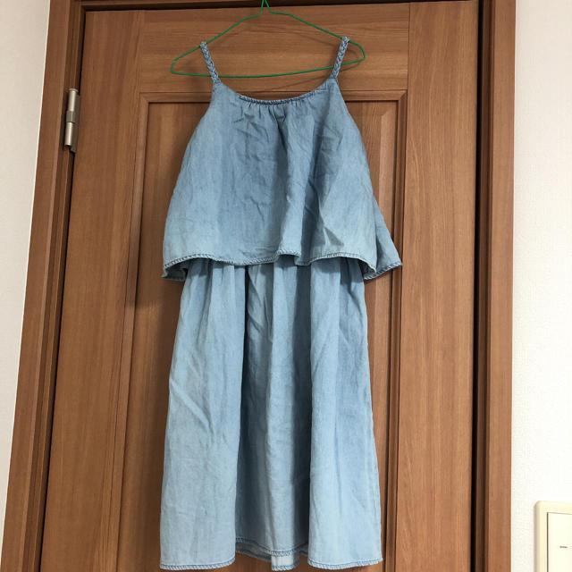 GU(ジーユー)のGU GIRLS デニムキャミワンピース 130 キッズ/ベビー/マタニティのキッズ服女の子用(90cm~)(ワンピース)の商品写真