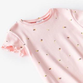 ザラキッズ(ZARA KIDS)の新品未使用✳︎zara フラワー柄リブ地Tシャツ 80cm(Tシャツ)