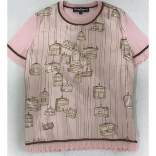 サルヴァトーレフェラガモ(Salvatore Ferragamo)のフェラガモ トップス Tシャツ Sサイズ ピンク シルク 極美品!クリーニング済(Tシャツ(半袖/袖なし))