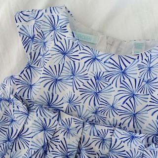 ジャカディ(Jacadi)の80-90cm♪ブルー花柄コットンワンピース♪Jacadiジャカディ系列オバイビ(ワンピース)
