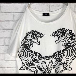 オニツカタイガー(Onitsuka Tiger)のアシックス オニツカタイガー Tシャツ ホワイト 虎柄 S 90s(Tシャツ/カットソー(半袖/袖なし))