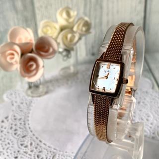 アガット(agete)の【美品】agete アガット 腕時計 0.02ct ピンクゴールド スクエア(腕時計)