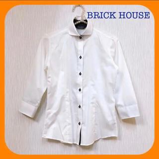 アオキ(AOKI)のBRICK HOUSE ♥︎ 白シャツ ブラウス 七分袖 レディース Sサイズ(シャツ/ブラウス(長袖/七分))