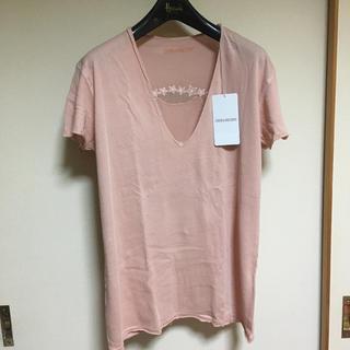 ザディグエヴォルテール(Zadig&Voltaire)のZADIG&VOLTAIRE ベビーピンク スカルマーク Tシャツ(Tシャツ(半袖/袖なし))