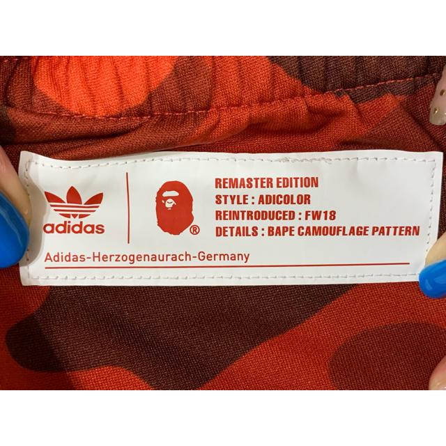 A BATHING APE(アベイシングエイプ)の★希少★美品 APE × アディダス トラック パンツ 赤カモ 3XL ジャージ メンズのパンツ(その他)の商品写真