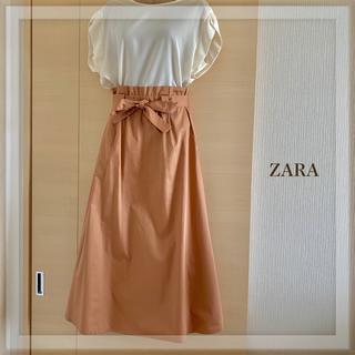 ザラ(ZARA)の【美品】ザラ サーモンピンクスカート✴︎アナイお好きな方にも(ロングスカート)