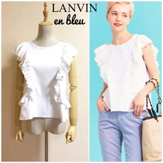 ランバンオンブルー(LANVIN en Bleu)のLANVIN en bleu  コットンフリルカットソー サイズ38(カットソー(半袖/袖なし))