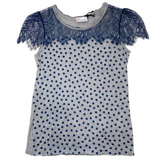 レッドヴァレンティノ(RED VALENTINO)の新品レッドヴァレンティノRED VALENTINOドット柄レースTシャツXSグレ(Tシャツ(半袖/袖なし))