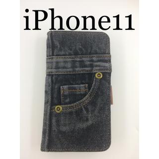 新品未使用❤️iPhone11 本格デニム生地 手帳型ケース❤️送料込み(iPhoneケース)
