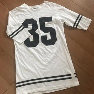スピンズ(SPINNS)のロングTシャツ ワンピース ホワイト (Tシャツ(半袖/袖なし))