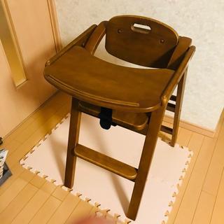 大和屋 Arch アーチ テーブル付 木製ハイチェア ブラウン