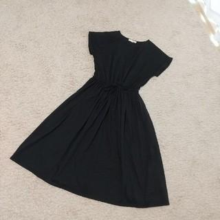 ピンクアドべ(PINK ADOBE)のpink adobe 黒 ブラック ワンピース M スカート(ひざ丈ワンピース)