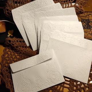 12 点世界に1つだけのハンドメイドメッセージカードにピッタリ♡エンボス封筒(カード/レター/ラッピング)