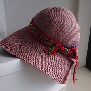 ヴィヴィアンウエストウッド(Vivienne Westwood)のヴィヴィアン・ウエストウッド 夏 帽子 赤 ストローハット (麦わら帽子/ストローハット)