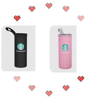 Starbucks Coffee - 【スターバックス】Starbucks ボトルカバー ブラック ピンク 2点セット