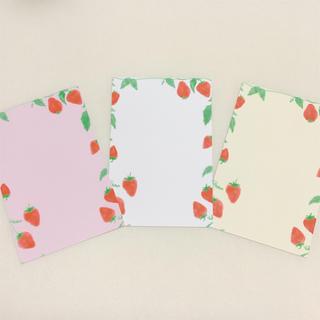 苺 いちご フルーツ かわいい 人気 淡い キレイ ピンク ハガキ ポストカード(カード/レター/ラッピング)