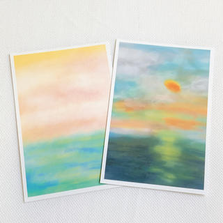 夕陽 海 淡い 自然  人気 キレイ かわいい インテリア ハガキ ポストカード(カード/レター/ラッピング)