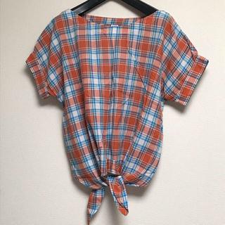 パーリッシィ(PAR ICI)のパーリッシィ parici マドラスチェック ブラウス オレンジ シャツ (シャツ/ブラウス(半袖/袖なし))