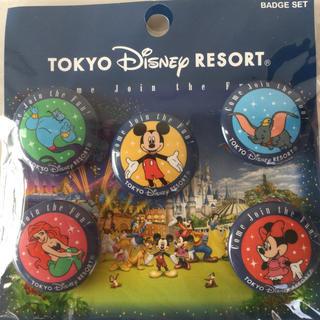 ミッキーマウス(ミッキーマウス)の【新品】東京ディズニーリゾート 缶バッジ 5個セット(バッジ/ピンバッジ)
