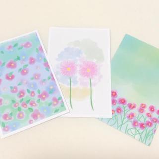 花 ピンク 淡い パステル かわいい 可愛い キレイ ハガキ ポストカード(カード/レター/ラッピング)