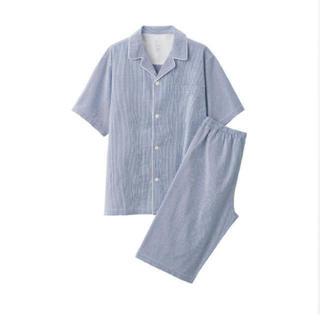 ムジルシリョウヒン(MUJI (無印良品))の無印脇に縫い目のない サッカー織り半袖パジャマ 紳士L・ブルー×チェック(その他)