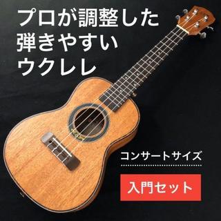【入門セット】YAEL製マホガニー・コンサート・ウクレレ【プロ調整品】(その他)