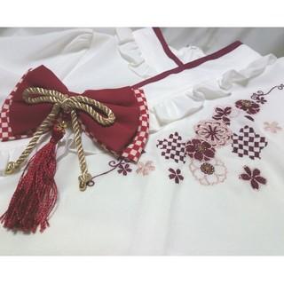 アマベル(Amavel)の 和風 和ロリ フリル チャイナ 中華 赤 ボルドー ワインレッド(シャツ/ブラウス(半袖/袖なし))