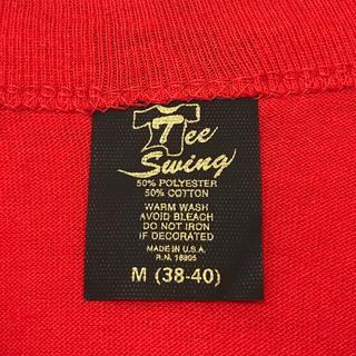 ヘインズ(Hanes)のデッドストック! 80's Tee Swing 無地T USA製 M レッド(Tシャツ(半袖/袖なし))