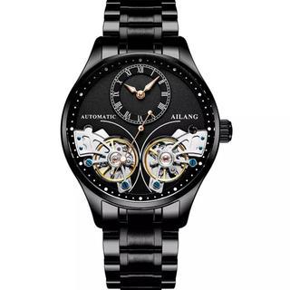 高級時計 ブラック ダブルトゥールビヨン メンズ腕時計 自動巻 新品未使用(腕時計(アナログ))