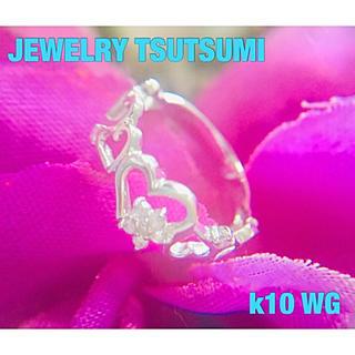 ジュエリーツツミ(JEWELRY TSUTSUMI)の①ジュエリーツツミ  k10 ハート&フラワーダイヤ ピンキーリング✨約2号(リング(指輪))