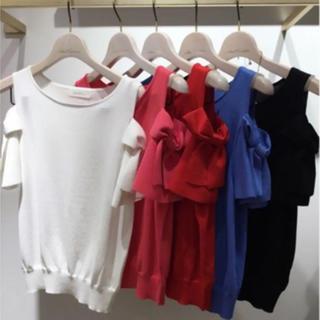アンドクチュール(And Couture)のアンドクチュール 38 ホワイト りぼん サマーニット(カットソー(半袖/袖なし))