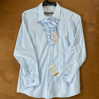 アオキ(AOKI)のタグ付♡17号♡2wayフリルシャツ水色(シャツ/ブラウス(長袖/七分))