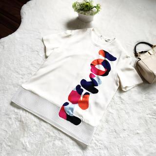 フェンディ(FENDI)の美品 FENDI フェンディ   シルク Tシャツ メッシュ トップス ロゴ(カットソー(半袖/袖なし))