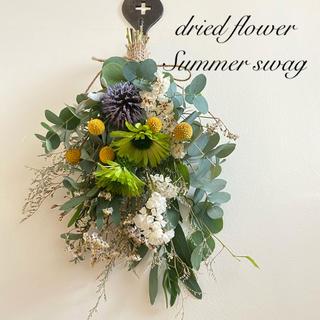 ユーカリ ハーブが香る 夏色スワッグ ドライフラワー(ドライフラワー)
