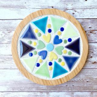 モザイクタイル鍋敷き(ブルー系&イエロー系&グリーン系)(インテリア雑貨)