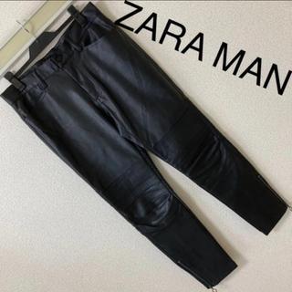 ZARA - 美品◆ZARA MAN ザラ マン◆シンセティックレザー バイカースキニーパンツ