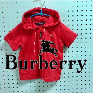 BURBERRY - バーバリー  BURBERRY  半袖フード付きジップパーカー  90cm