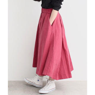 ドットアンドストライプスチャイルドウーマン(Dot&Stripes CHILDWOMAN)のDot&Stripes リネンキャンバス製品染め ベルト付きフレアスカート(ロングスカート)