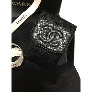 シャネル(CHANEL)のCHANEL ココマーク キャビアスキン シガレットケース  超美品 ブラック(タバコグッズ)