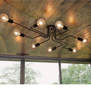 新品◎ お洒落な天井照明 8灯電球のインダストリアルな空間に◎  ブラック(天井照明)