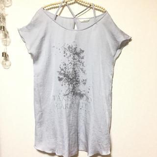 ミスティウーマン(mysty woman)のmysty woman 肩クロス シャツワンピース チュニック (Tシャツ(半袖/袖なし))