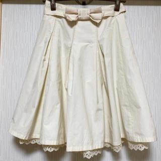トゥービーシック(TO BE CHIC)のTO BE CHIC  リボンとレースが可愛いスカート(ひざ丈スカート)