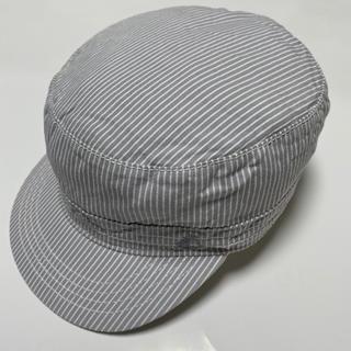 プチバトー(PETIT BATEAU)の極美品!PETIT BATEAUキャスケット.49cm.ライトグレーストライプ柄(帽子)