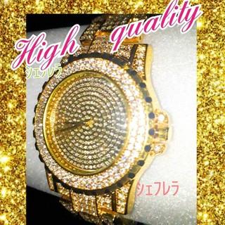 輝きを身に纏う…ラグジュアリー ブレスレットウォッチ CZダイアモンド ゴールド(ブレスレット)
