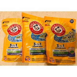 ピーアンドジー(P&G)の3袋 (150個) オキシクリーン ジェルボール 洗剤 アメリカ 3in1(洗剤/柔軟剤)