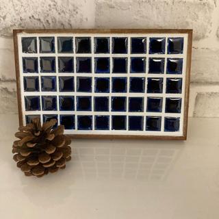 ハンドメイド オリジナルタイル 鍋敷き ブルー(キッチン小物)